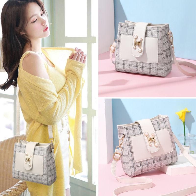 女士水桶包甜美韩版单肩斜挎百搭手提包