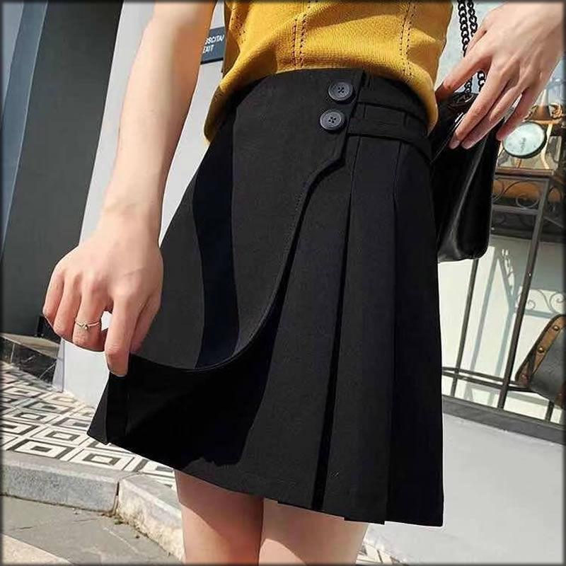 夏季韩版纯色百褶裙半身裙A字短裙子大码