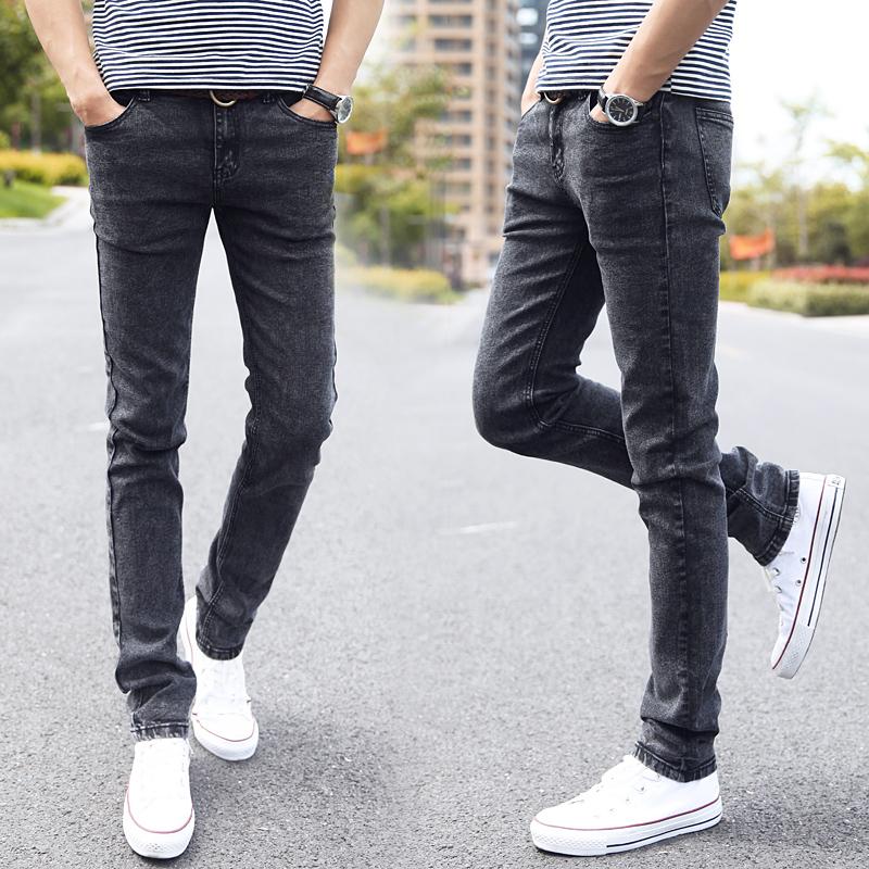 肯敖夏季男士牛仔裤修身小脚休闲长裤子韩版潮流潮牌夏天直筒百搭