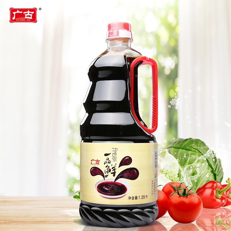 广古 酱油一品鲜特级生抽炒菜凉拌卤水酱油酿造调料1.29L*1瓶包邮