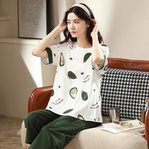 夏季纯棉女学生短袖套装韩版可爱卡通休闲女全棉七分裤家居服大码