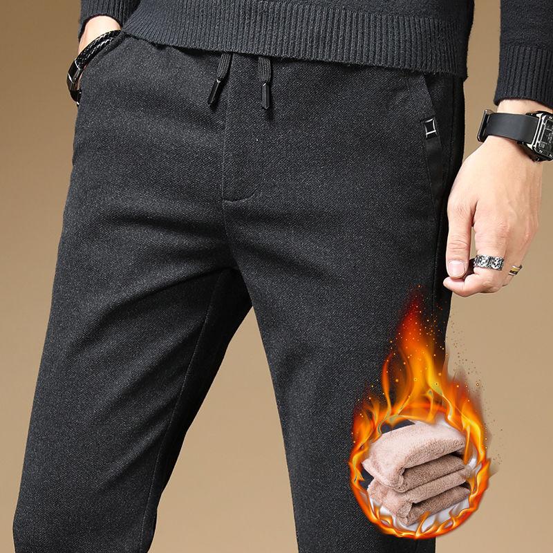 男士冬季加绒加厚休闲裤青年韩版直筒弹力修身时尚休闲保暖长裤潮
