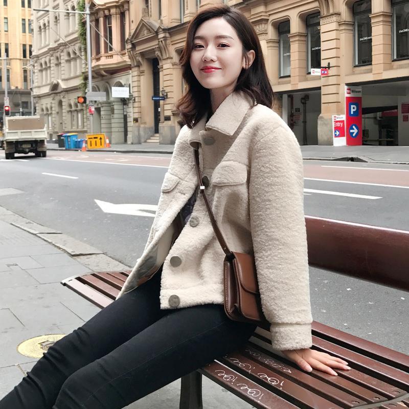 仿羊羔毛外套女2020流行新款韩版春秋季皮毛一体仿羊羔绒短款外套