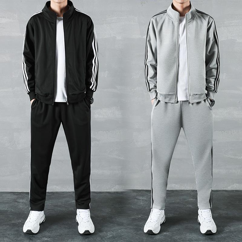 新款春秋季套装时尚男士休闲运动套装男士开衫百搭拉链两件套潮流