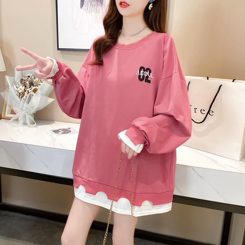 LANDCOE2021年春季新款卫衣女圆领假两件上衣宽松T恤潮