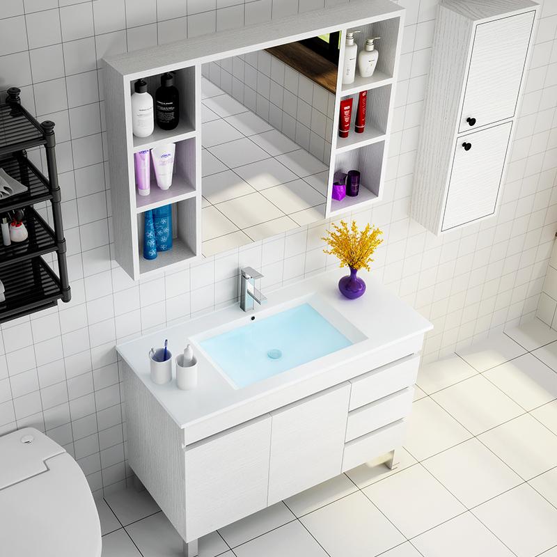 北欧浴室柜组合现代简约白色落地式洗脸盆柜洗手台面卫生间洗漱台