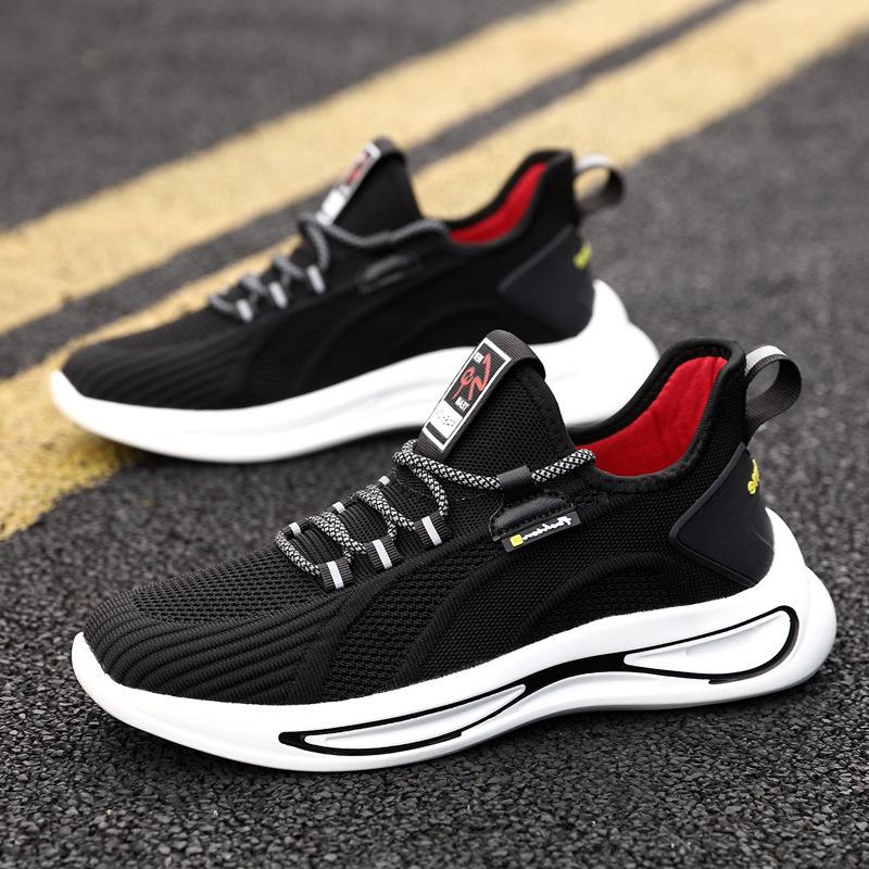 运动鞋男士跑鞋春季新款跑步鞋男飞织透气鞋