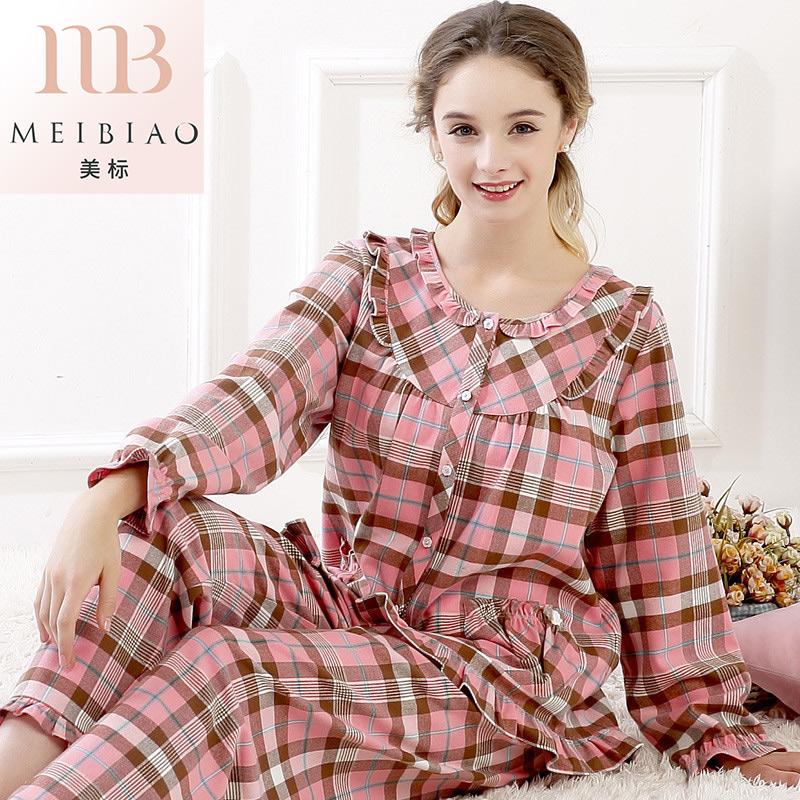 美标2018新款春秋女士纯棉长袖睡衣甜美全棉质格子夏季家居服套装