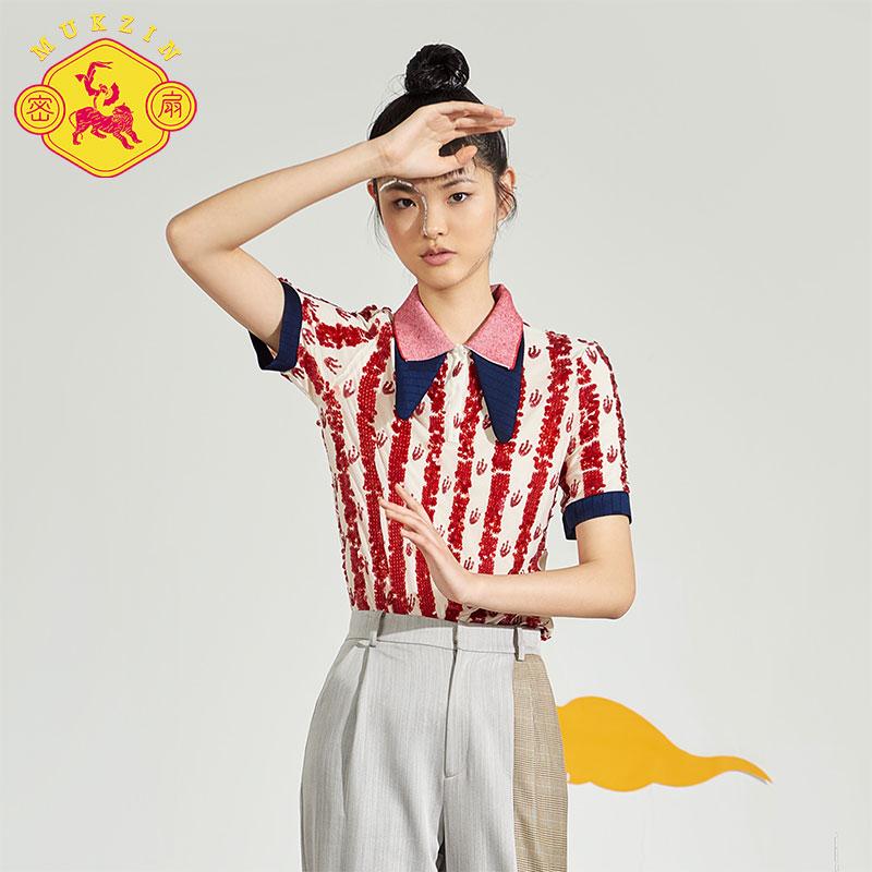 密扇山海错2018春夏新款刺绣撞色双叠立领亮片重工衬衫女上衣