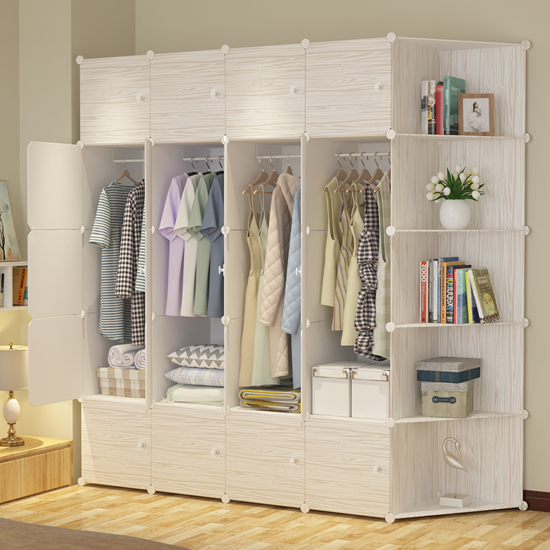 Wardrobe imitation wood simple modern economic dormitory assembly plastic storage cloth dormitory single simple wardrobe