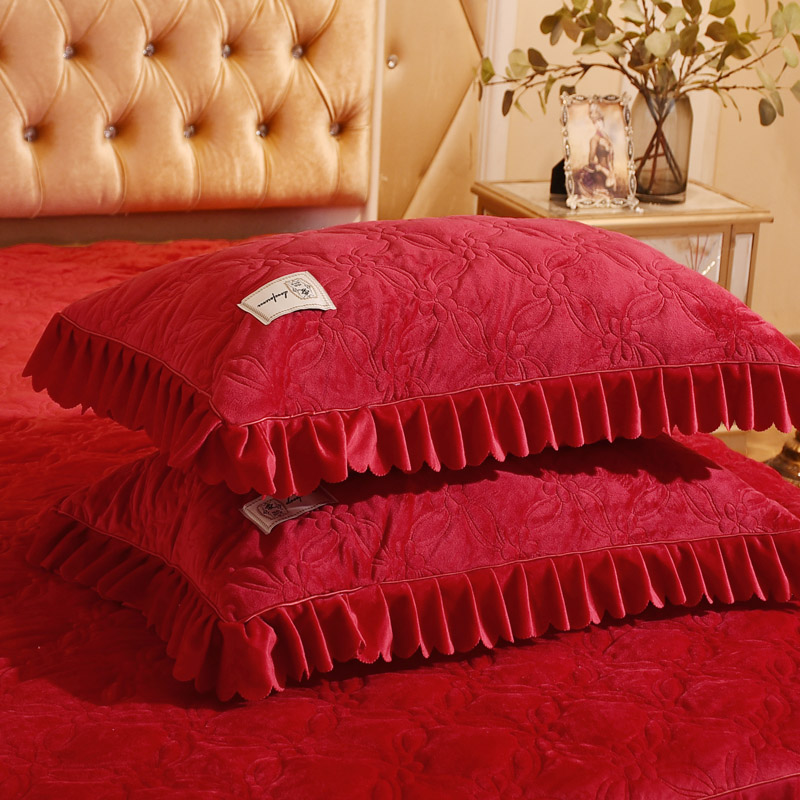 新款韩式加厚水晶绒床裙三四件套大红结婚庆床罩加绒床上用品被套