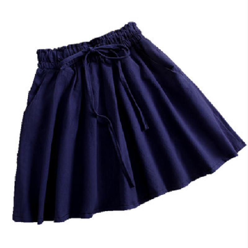 夏季棉麻短裙半身裙A字裙学生百褶蓬蓬裙伞裙休闲雪纺裙子女宽松