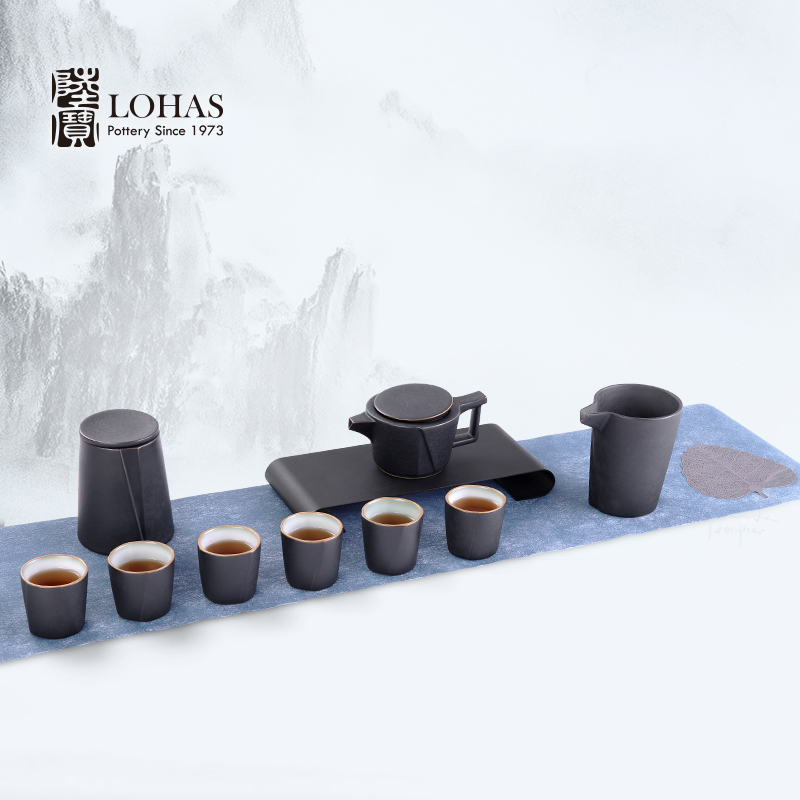 Lupao ceramic drinking hidden landscape rocks with kung fu tea set gift box industry of rural wind teapot cross - border currency