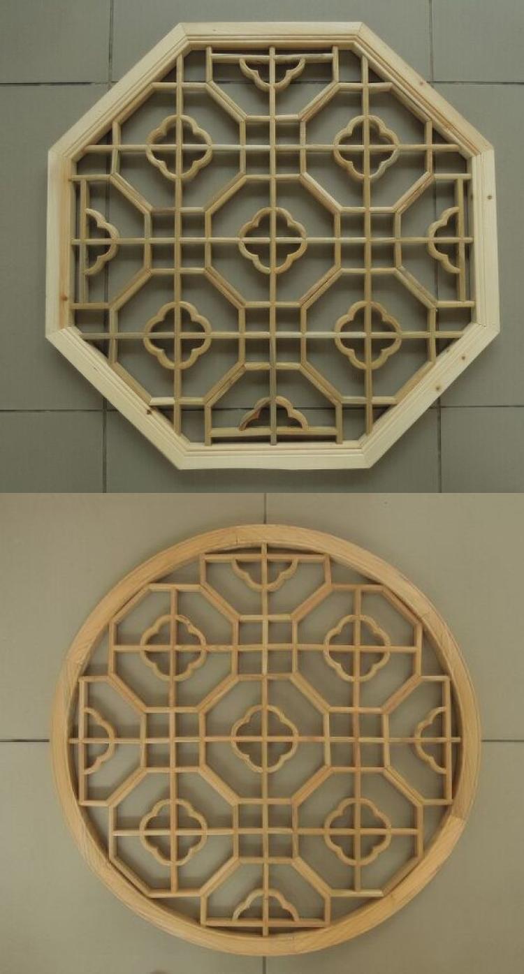 东阳木雕实木仿古花格吊顶中式挂件雕花镂空圆形八角花窗隔断墙饰图片