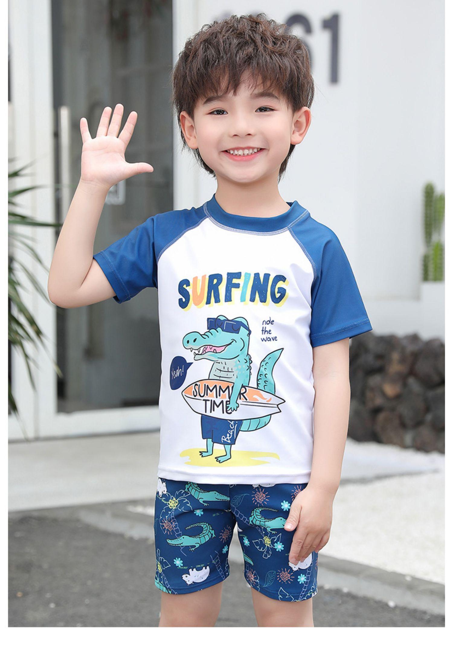 儿童泳衣男童分体防晒速干