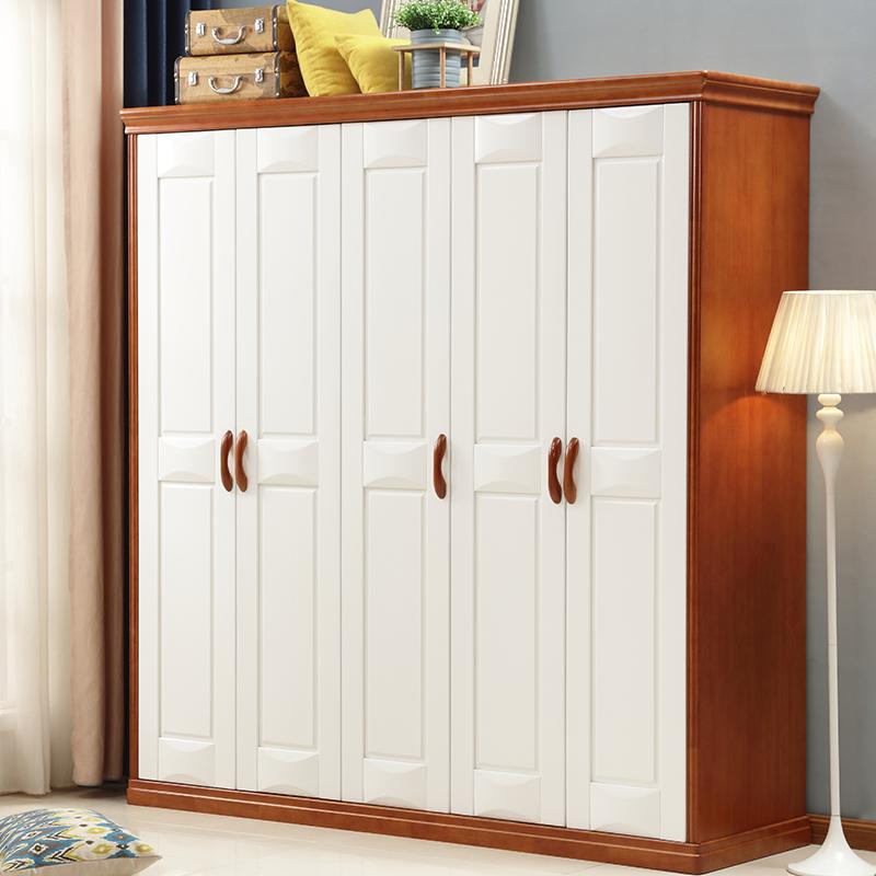 开心家 地中海实木衣柜白色3门4门5门6门带抽大衣橱简约卧室家具