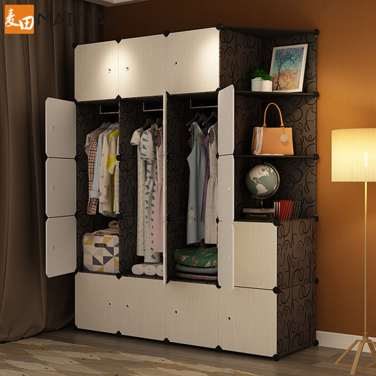 Simple wardrobe cloth assembly economy bedroom rental detachable plastic fabric storage small wardrobe storage cabinet