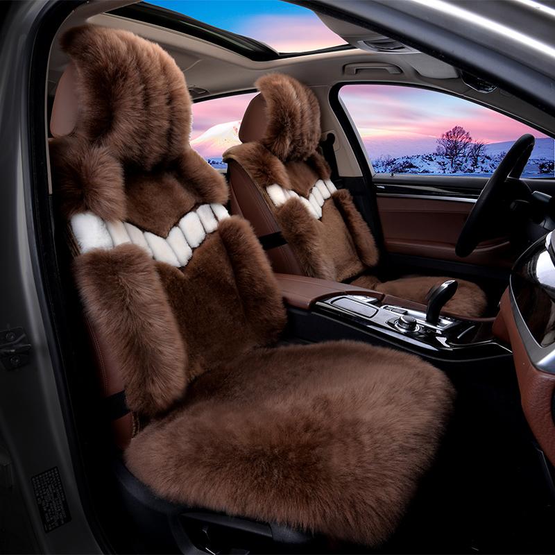 2018新款真皮毛一体羊毛冬季保暖羊毛汽车座垫纯羊毛毛绒长毛坐垫