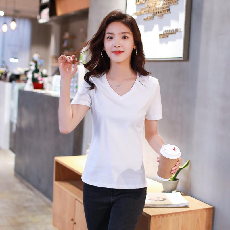 夏装新款韩版纯白色修身v领丝光棉T恤女短袖纯棉体恤百搭打底衫潮