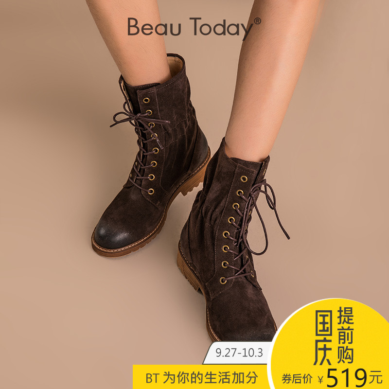 BeauToday短靴女春秋2018新款马丁靴英伦风中筒真皮女靴休闲短靴