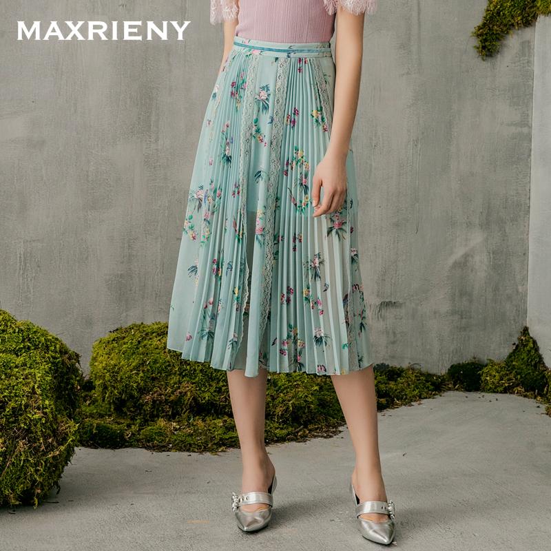 MAXRIENY 2018夏季新款 蕾丝印花拼接半身裙复古修身百褶中长裙女