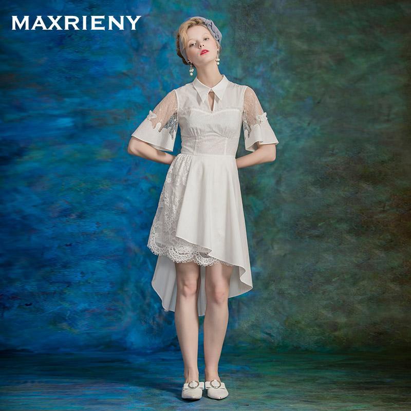 MAXRIENY 夏季新品 性感拼蕾丝衬衫领不规则下摆连衣裙