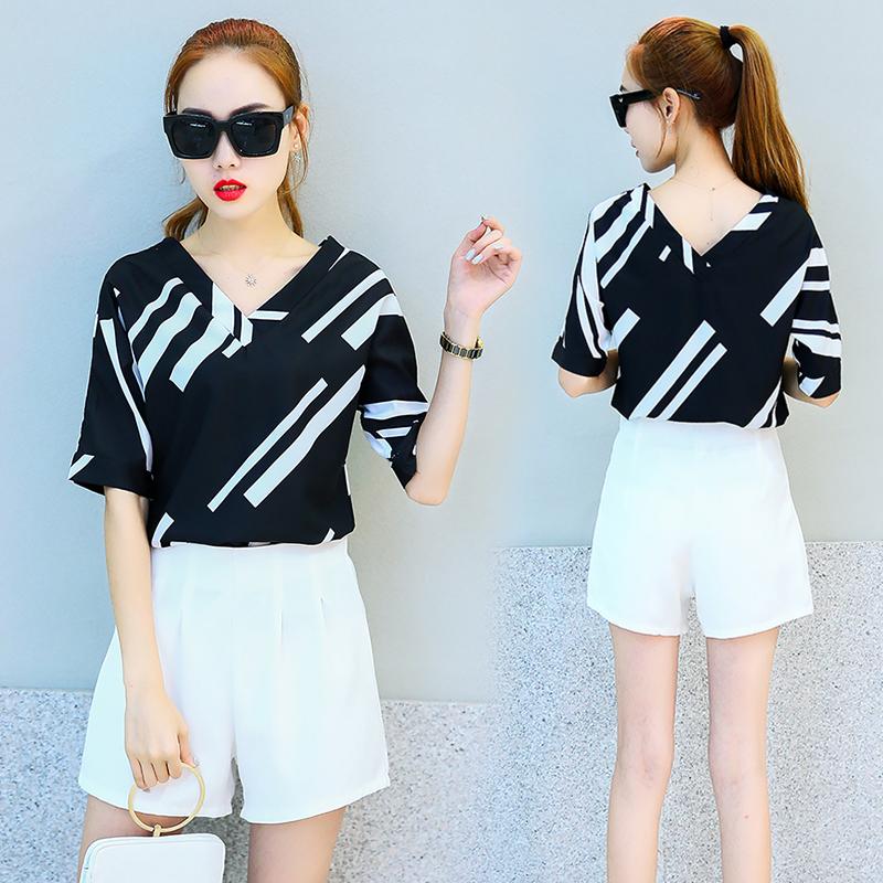 2017夏季新款休闲时尚宽松短袖两件套韩版修身印花雪纺短裤套装女