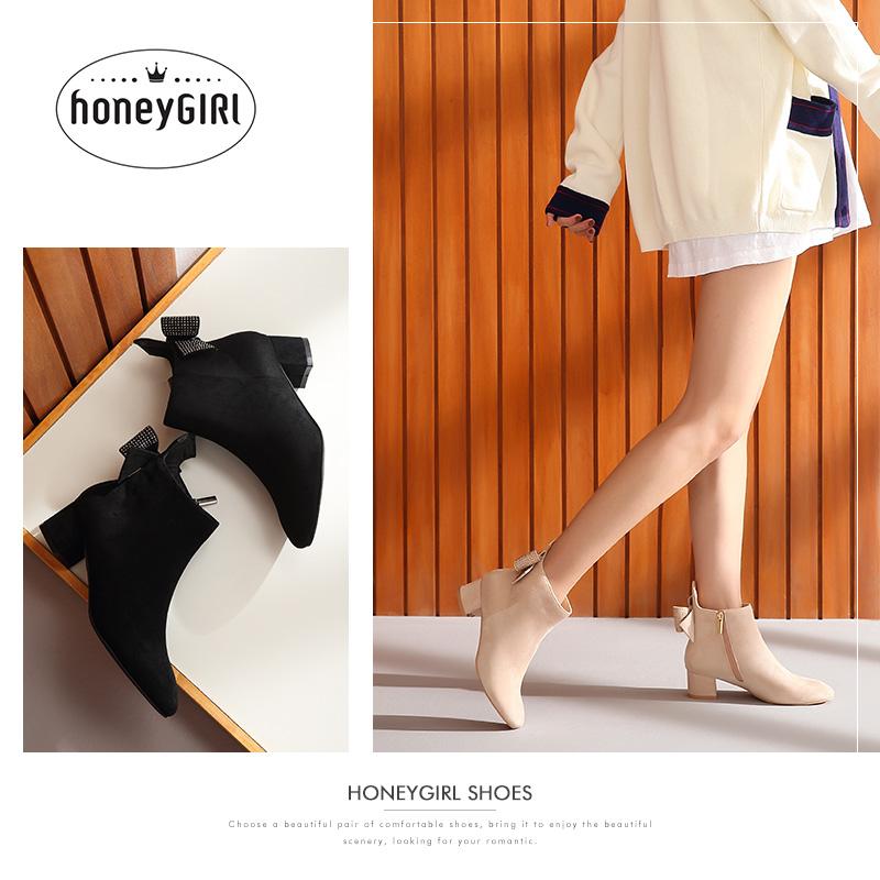 honeyGIRL2018冬季新款女靴韩版蝴蝶结小跟短靴高跟靴子女鞋加绒