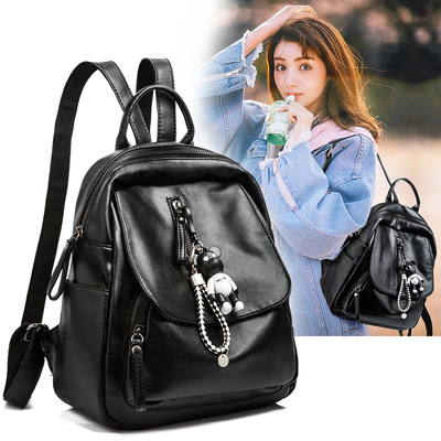 Fashion shoulder bag female tide 2018 Korean version of the small wild backpack soft leather pu casual student book bag 2017 new
