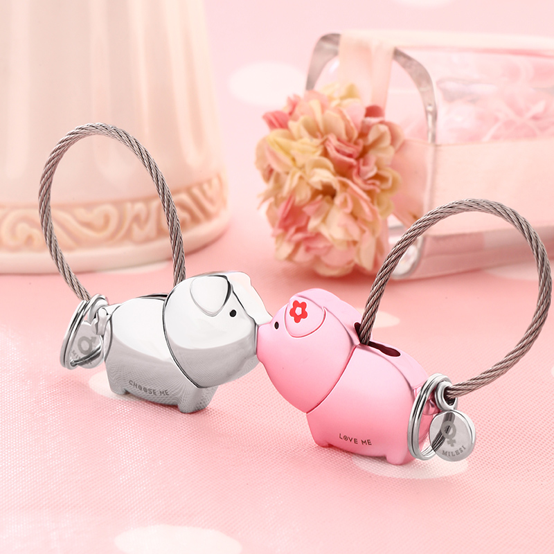 Couple keychain a pair of kissing piggy pig year mascot key chain female Korean cute car ornaments creative