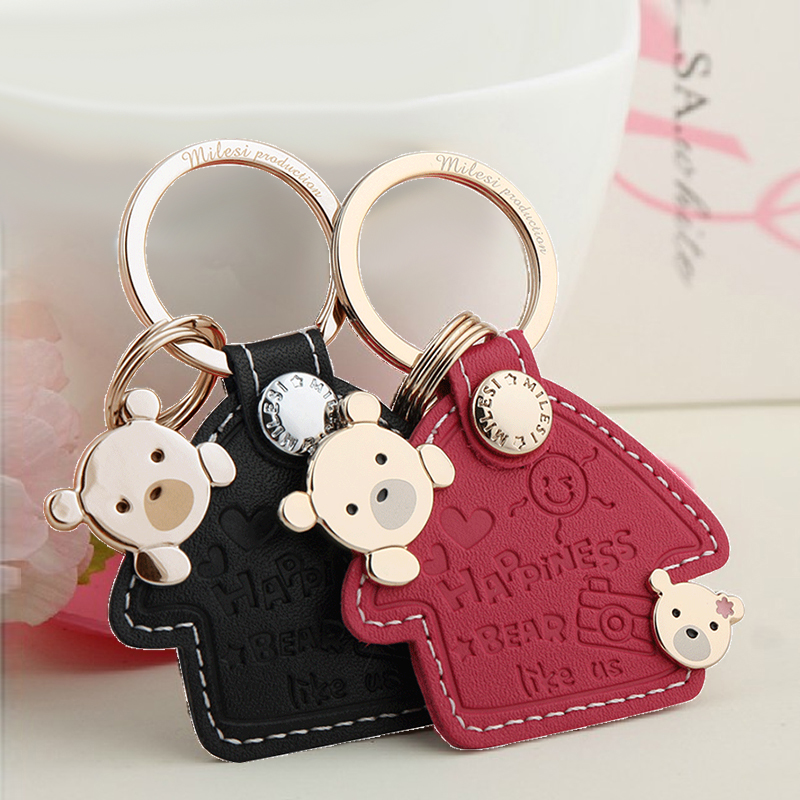 Millers couple keychain car pendant cartoon key ring ring leather key chain cute bear creative