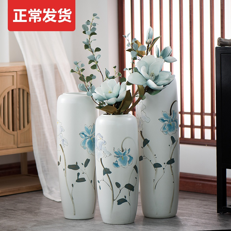 Jingdezhen ground vase large - sized ceramic porch Chinese style is I and contracted dry flower arranging flowers floral furnishing articles big living room