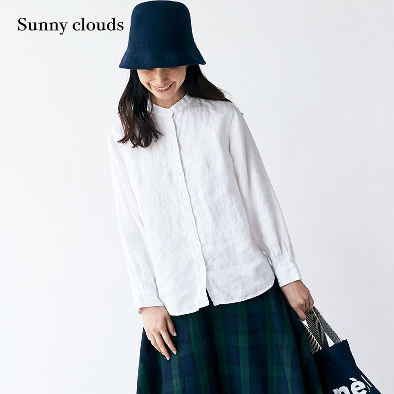 秋季新品 桑妮库拉-Sunny clouds 女式亚麻白色立领衬衫