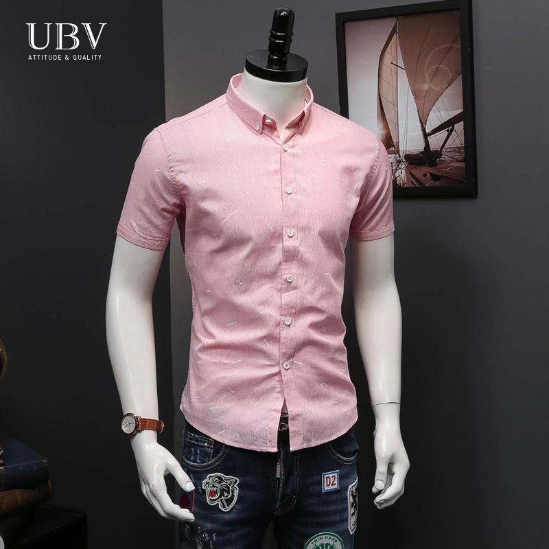 欧洲站夏季新品细条纹印花衬衫男短袖欧美休闲修身薄款潮衬衣青年