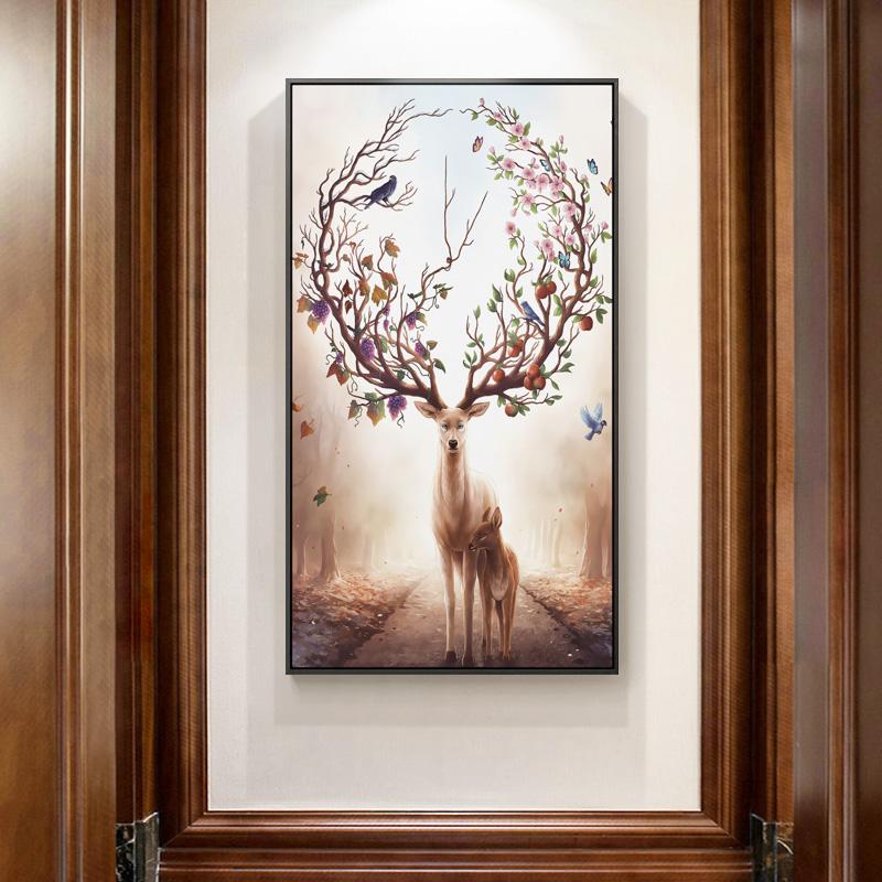 美式玄关装饰画过道走廊墙面入门现代招财北欧玄幻麋鹿墙壁墙画