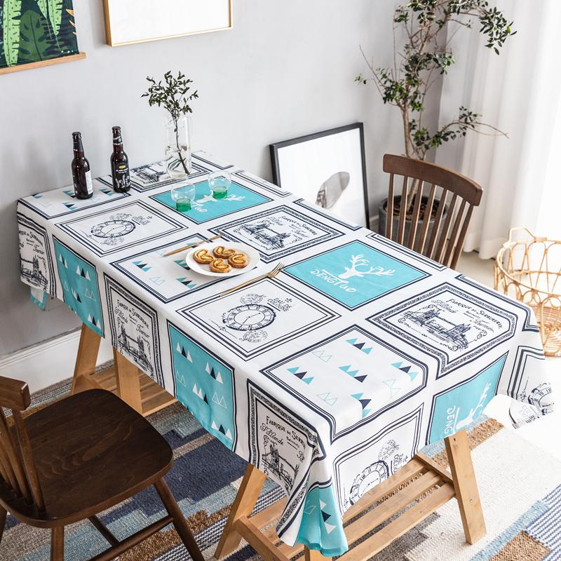 北欧布艺桌布棉麻防油防水防烫免洗长方形小鹿茶几桌布餐桌布桌垫