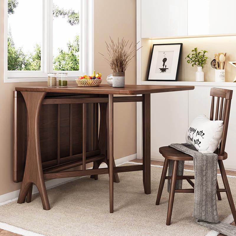 预 华纳斯实木餐桌可折叠餐桌椅组合现代简约小户型家用餐桌创意