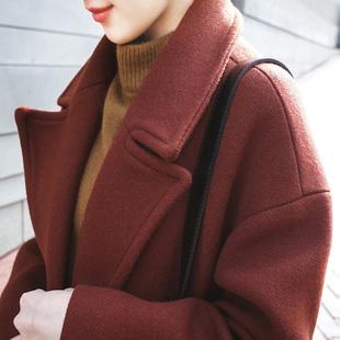 焦糖色呢子大衣女中长款茧型厚毛呢外套
