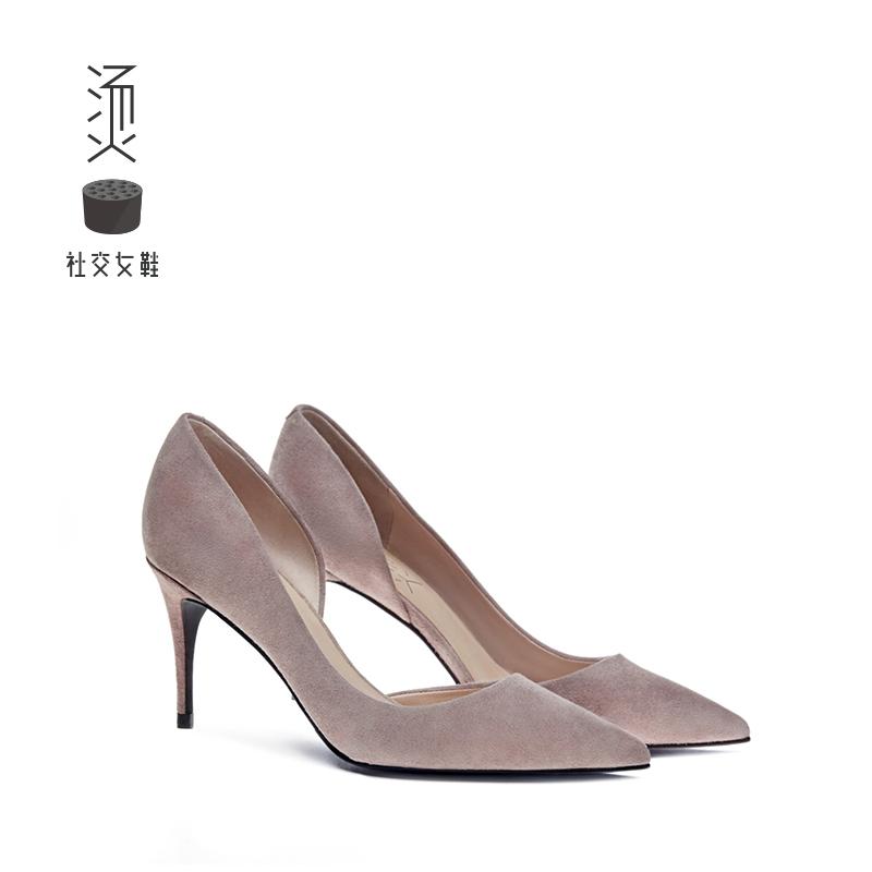 烫社交女鞋灰裸色羊猄尖头细高跟鞋时尚性感单鞋女2018夏季新款