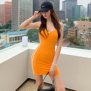 7150#2020夏装新款韩版休闲气质吊带裙T恤针织修身简约包臀打底裙