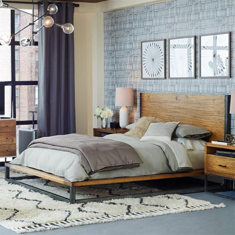 美式乡村loft工业风复古创意简约榻榻米铁艺实木单双人床1.51.8米