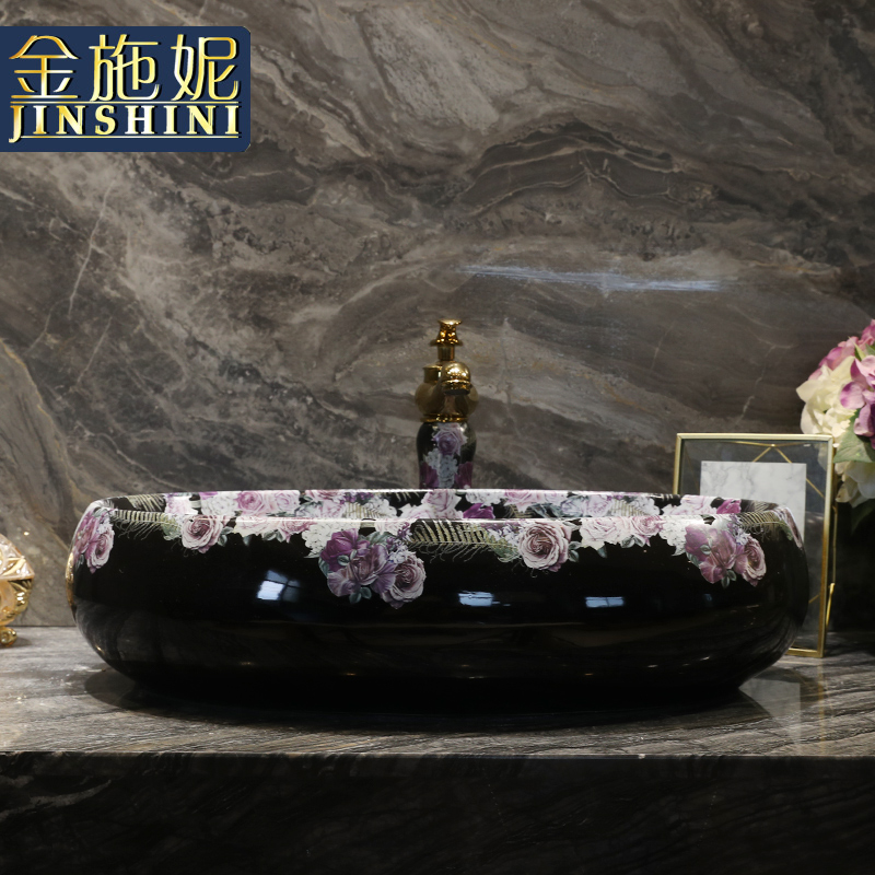Ceramic art basin lavatory plate oval sink to wash your hands of household contracted the stage basin sink basin