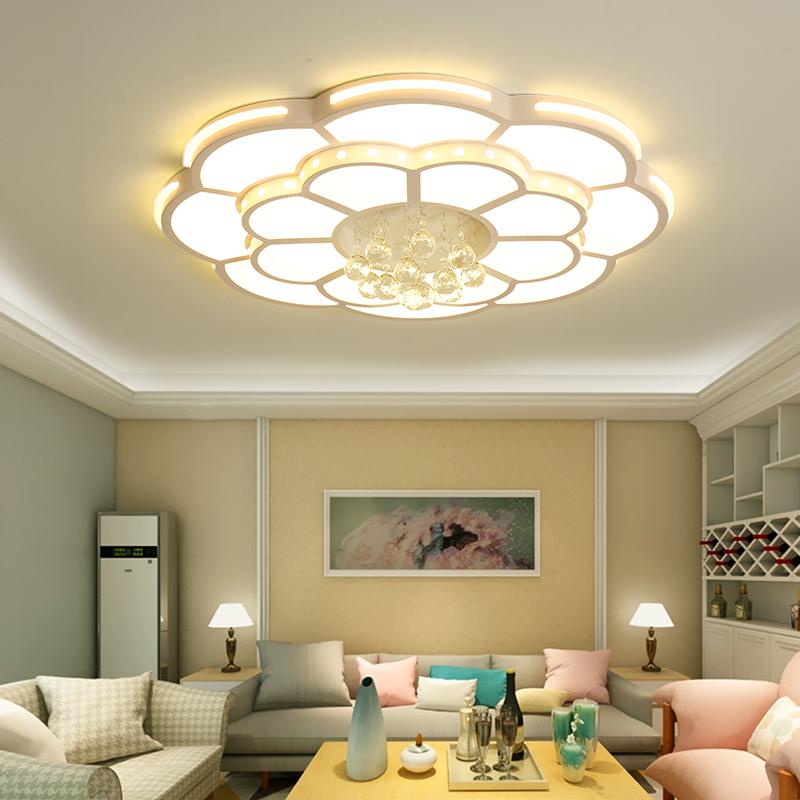 客厅吸顶灯圆形现代简约1.2米大气水晶灯家用创意遥控led大厅灯具