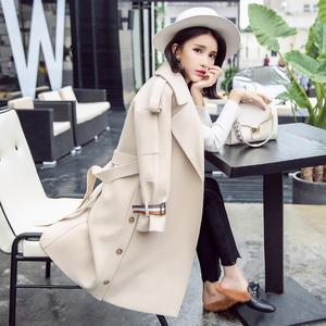 2017韩版中长款米白加厚修身毛呢外套女冬季新款宽松显瘦呢子大衣