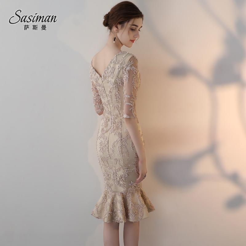 宴会晚礼服2018新款优雅V领短款鱼尾修身主持人结婚小礼服连衣裙