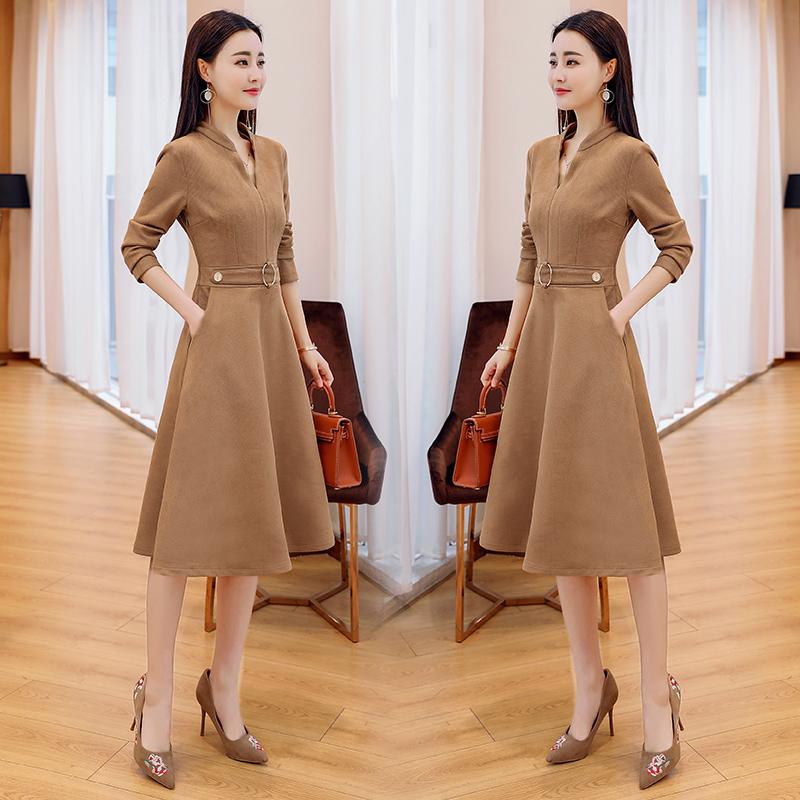 长袖连衣裙女中长款2018春秋季新款时尚气质韩版有女人味的裙子潮