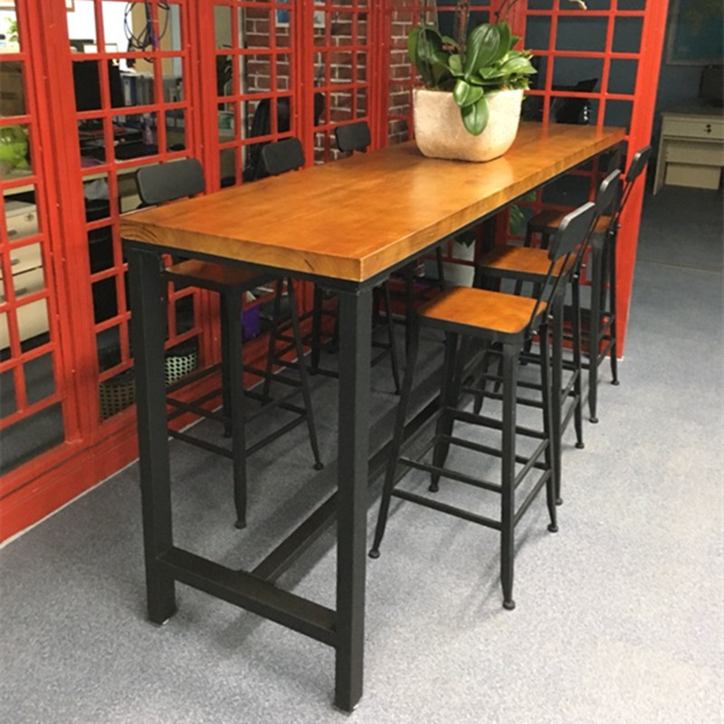 Iron Solid Wood Bar Table Living Room Cafe Against The Wall High