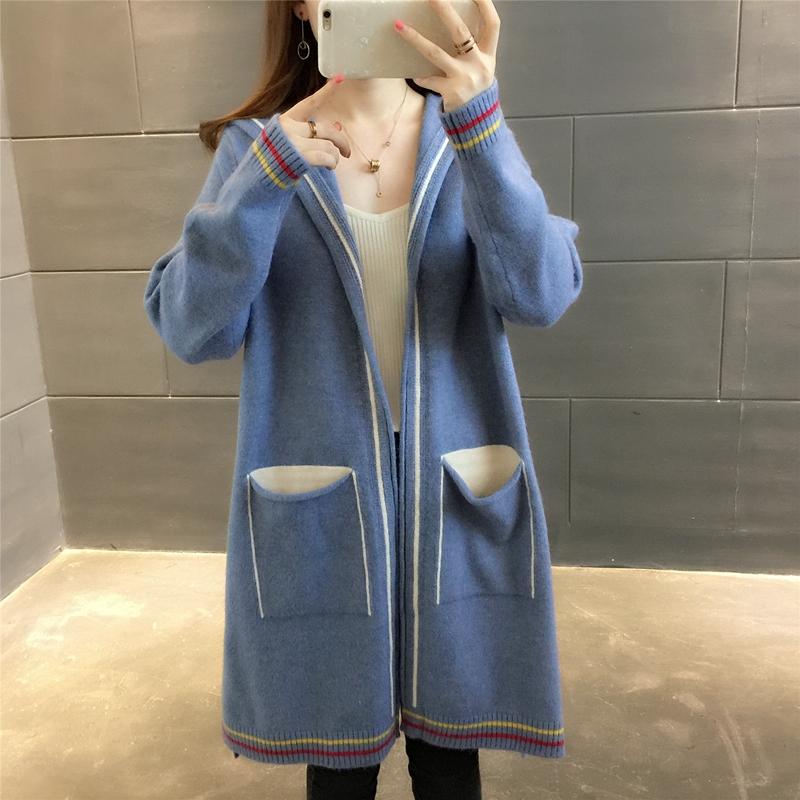 2018秋装新款韩版中长款针织开衫女宽松学生长袖连帽衫毛衣外套女