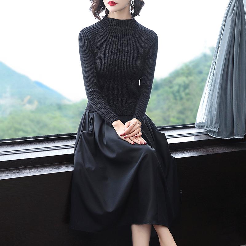 2018秋季新款女装针织连衣裙拼接假两件A字裙修身秋裙过膝长裙子