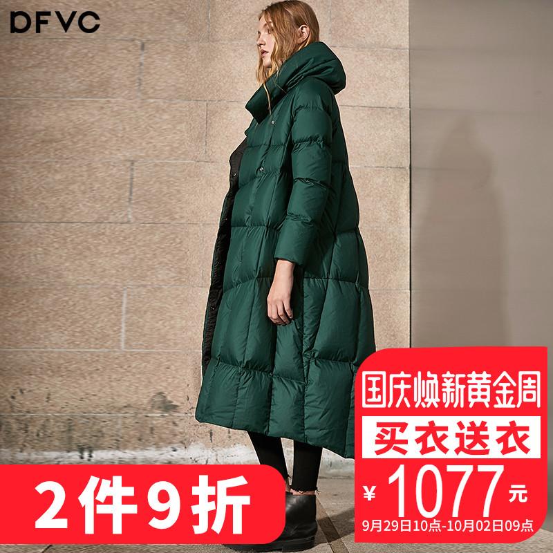 dfvc2018冬季新款欧美羽绒服女中长款时尚过膝斗篷女装宽松加厚潮